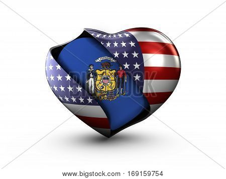 USA State Wisconsin flag on white background. 3d Illustration.