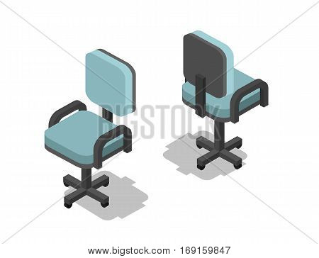 Vector isometric illustration of office chair, 3d flat furniture icon. Interior design, info graphics and games.