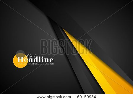 Abstract corporate orange black tech background. Vector geometric graphic design