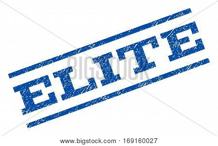 Elite watermark stamp. Text caption between parallel lines with grunge design style. Rotated rubber seal stamp with dust texture. Vector blue ink imprint on a white background.