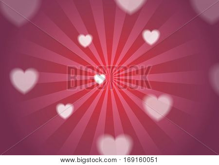 Bright St Valentines Day background with hearts. Vector greeting card design