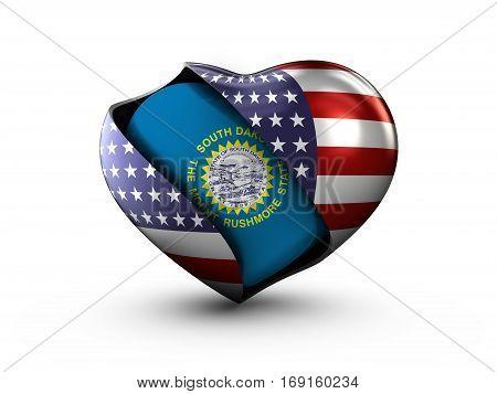 USA State South Dakota flag on white background. 3d Illustration.