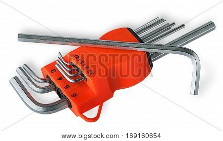 Set allen wrench isolated on white background