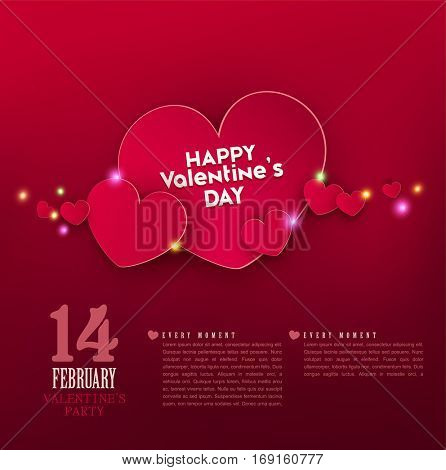 Vector festive background Valentine's Day. Template for an invitation to a party. Red hearts with bright highlights.