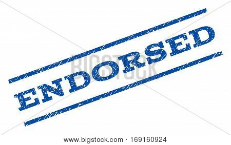 Endorsed watermark stamp. Text tag between parallel lines with grunge design style. Rotated rubber seal stamp with scratched texture. Vector blue ink imprint on a white background.