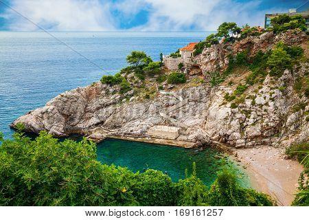 aerial view of the public Bellevue beach in Dubrovnik Croatia