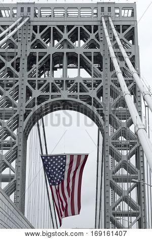 View Of George Washington Bridge Over Hudson River, The American Flag