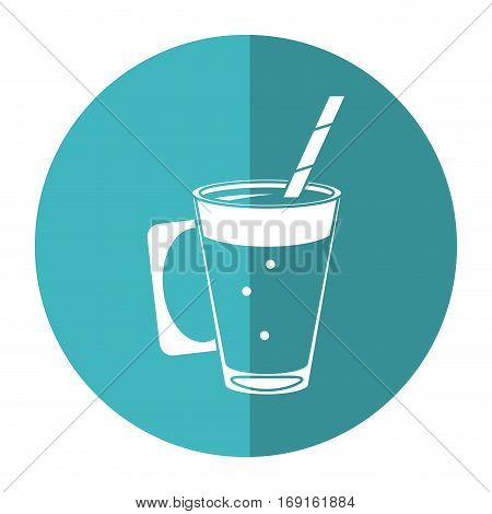 mocca coffee cup cream straw drink - round icon vector illustration eps 10