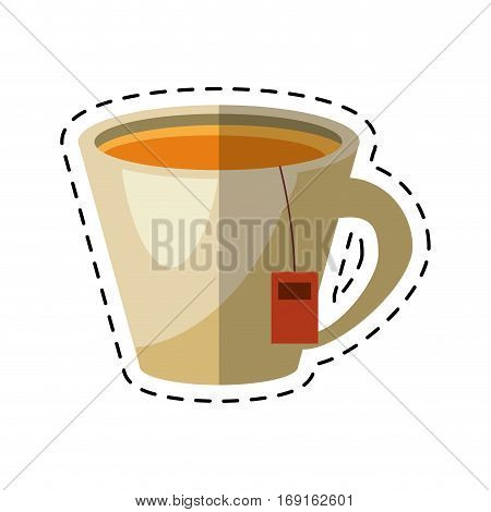 tea hot cup herb aromatic - dot line vector illustration eps 10