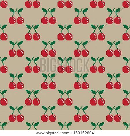 Cherry Pixel Seamless Pattern  pixel illustration background