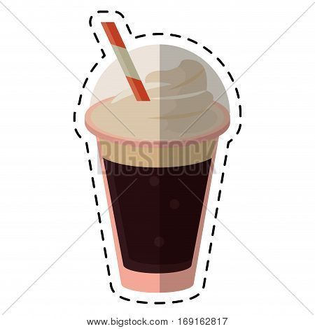 frappe coffee straw take out container - dot line vector illustration eps 10