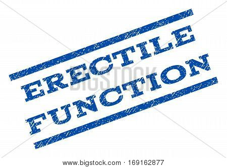 Erectile Function watermark stamp. Text tag between parallel lines with grunge design style. Rotated rubber seal stamp with dust texture. Vector blue ink imprint on a white background.