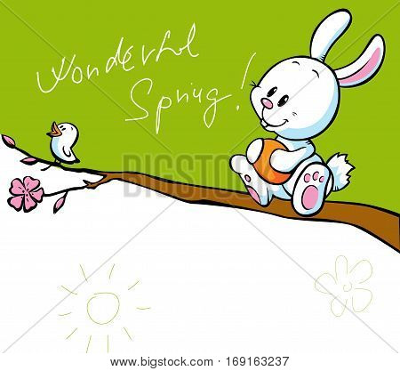 spring banner with singing bird and white easter bunny holding easter egg - vector cartoon illustration