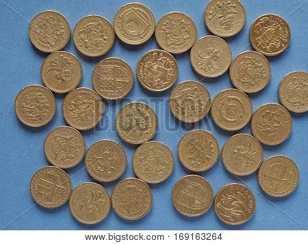 Pound Coins, United Kingdom Over Blue