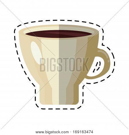 mug coffee hot aroma morning - dot line vector illustration eps 10