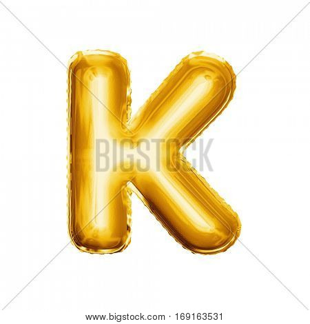 Balloon letter K. Realistic 3D isolated gold helium balloon abc alphabet golden font text. Decoration element for birthday or wedding greeting design on white background