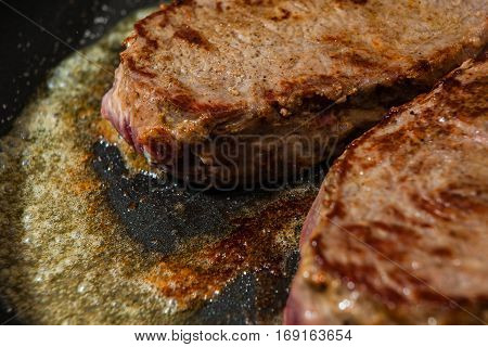 A Juicy And Tasty Beef Beneficence In The Frying Pan