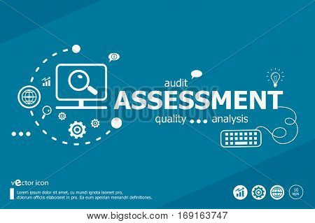 Assessment Related Words And Marketing Concept. Infographic Business.