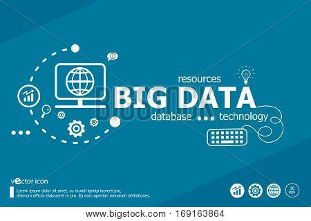 Big Data Related Words And Marketing Concept. Infographic Business.