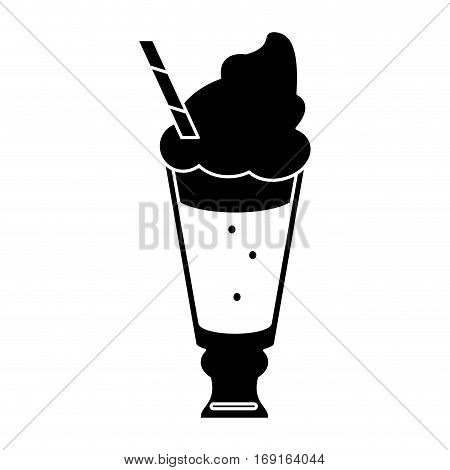 glass cup drink cream glace straw fresh pictogram vector illustration eps 10