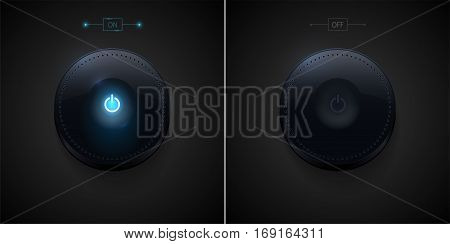 Dark glossy power button in two position - ON and OFF. Vector illustration.