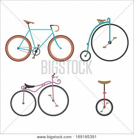 Vintage retro bicycle set and style antique sport old fashion grunge flat vector. Riding bike transport illustration. Healthy lifestyle vehicle.