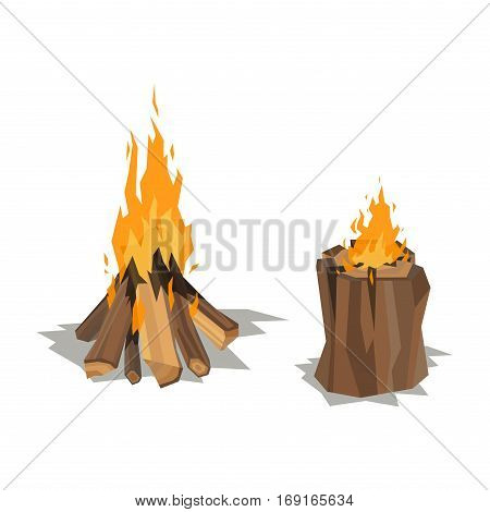 Isolated illustration of campfire logs burning bonfire. firewood stack on white background. Vector wood explosion glowing nature blazing power.