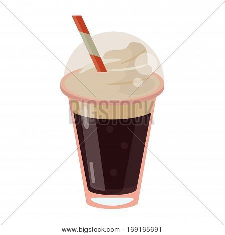 frappe coffee straw take out container vector illustration eps 10