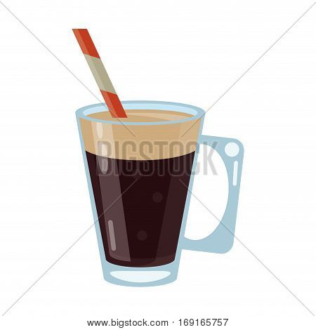 mocca coffee cup cream straw drink vector illustration eps 10