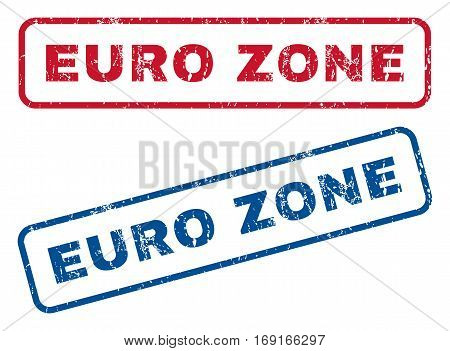 Euro Zone text rubber seal stamp watermarks. Vector style is blue and red ink tag inside rounded rectangular banner. Grunge design and dirty texture. Blue and red emblems.