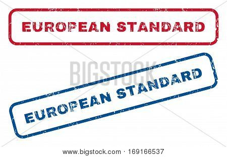 European Standard text rubber seal stamp watermarks. Vector style is blue and red ink tag inside rounded rectangular shape. Grunge design and unclean texture. Blue and red stickers.