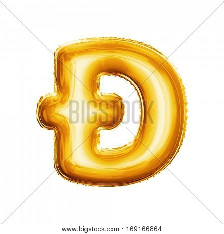 Balloon crossed letter D dyet. Realistic 3D isolated gold helium balloon abc alphabet golden font text. Decoration element for birthday or wedding greeting design on white background