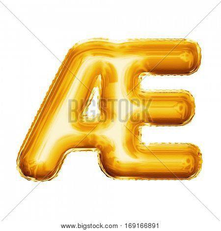 Balloon letter AE ligature. Realistic 3D isolated gold helium balloon abc French or Danish language alphabet golden font text. Decoration element for birthday wedding greeting on white background