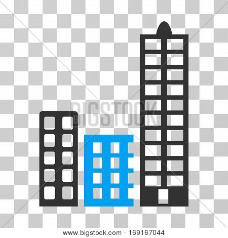 City icon. Vector illustration style is flat iconic bicolor symbol blue and gray colors transparent background. Designed for web and software interfaces.