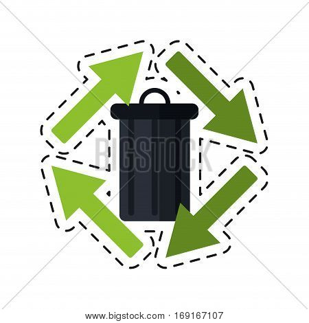 trash can garbage arrow environment recycle -cut line vector illustration eps 10