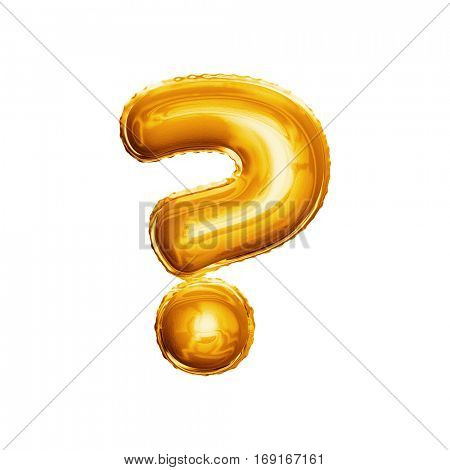 Balloon question mark. Realistic 3D isolated gold helium balloon abc alphabet symbol and sign golden font text. Decoration element for birthday or wedding greeting design on white background