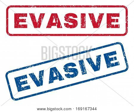 Evasive text rubber seal stamp watermarks. Vector style is blue and red ink caption inside rounded rectangular shape. Grunge design and dirty texture. Blue and red emblems.