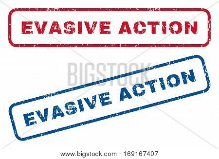 Evasive Action text rubber seal stamp watermarks. Vector style is blue and red ink tag inside rounded rectangular banner. Grunge design and dirty texture. Blue and red signs.