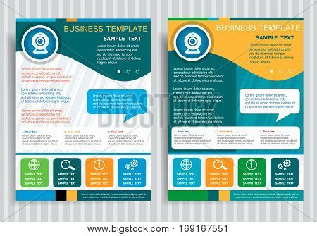 Webcam sign icon. Camera chat on background for banner web site design. Brochure Flyer design Layout template size A4.