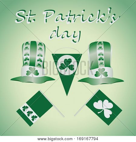 Green-and-white set for St. Patrick's Day. Design elements set. Festival st patrick day icons shamrock lucky spring. happy celebration decoration. Ireland holiday patrick day leprechaun symbols.