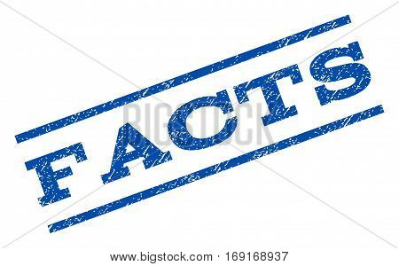 Facts watermark stamp. Text tag between parallel lines with grunge design style. Rotated rubber seal stamp with scratched texture. Vector blue ink imprint on a white background.