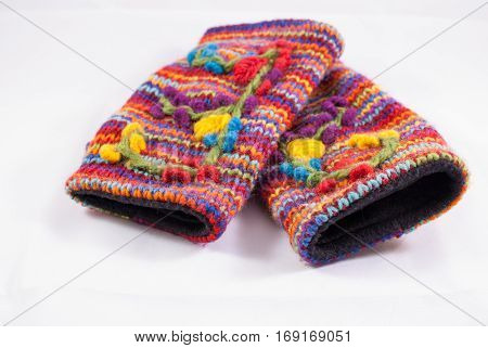 Pair of colorful woven hand warmers from Nepal