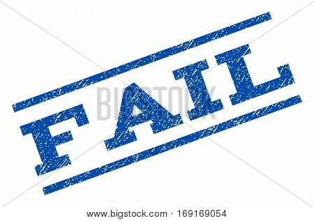 Fail watermark stamp. Text tag between parallel lines with grunge design style. Rotated rubber seal stamp with dust texture. Vector blue ink imprint on a white background.