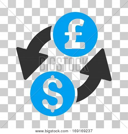 Dollar Pound Exchange icon. Vector illustration style is flat iconic bicolor symbol blue and gray colors transparent background. Designed for web and software interfaces.