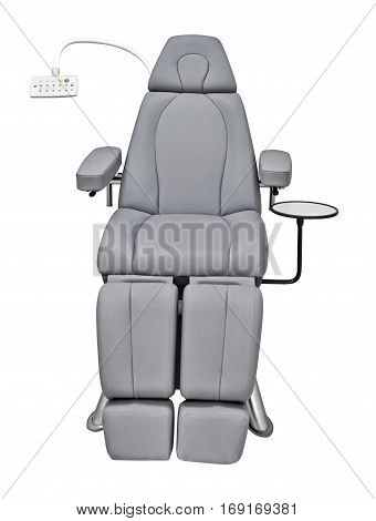 Examination chair, ophthalmic, electrical, height-adjustable isolated on white background with clipping path.