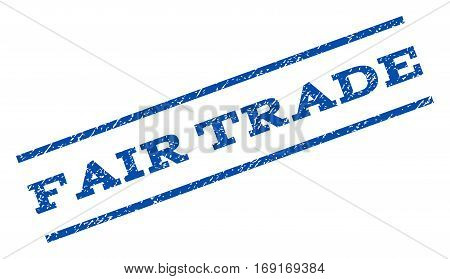 Fair Trade watermark stamp. Text tag between parallel lines with grunge design style. Rotated rubber seal stamp with scratched texture. Vector blue ink imprint on a white background.