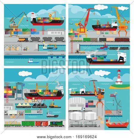 Banners with sea transport for shipping cargo and logistic. Vector illustration - ship with crane in port, freight industrial delivery, export and import goods, container with shipment in harbor.