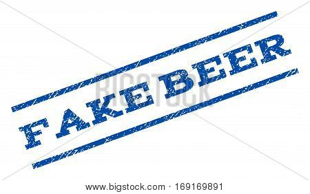 Fake Beer watermark stamp. Text caption between parallel lines with grunge design style. Rotated rubber seal stamp with dirty texture. Vector blue ink imprint on a white background.