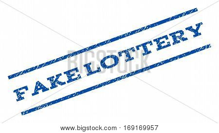 Fake Lottery watermark stamp. Text caption between parallel lines with grunge design style. Rotated rubber seal stamp with dirty texture. Vector blue ink imprint on a white background.