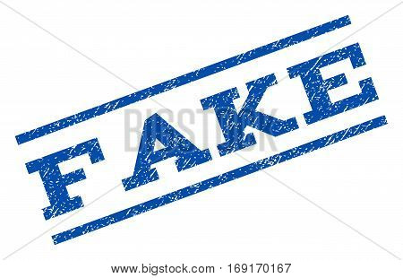 Fake watermark stamp. Text tag between parallel lines with grunge design style. Rotated rubber seal stamp with scratched texture. Vector blue ink imprint on a white background.
